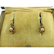 Antique French Napoleon III Dormeuses Earrings 18k Gold Pearl and Diamond ~ c1880