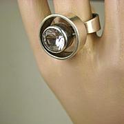 Niels Erik From Danish Modernist Sterling Rock Crystal Ring ~ c1960's