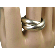 Fine Vintage Heavy Sterling Silver Trinity or Russian Wedding Ring ~1970's