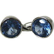 Vintage Sterling Blue Cubic Zirconia Dormeuses Earrings