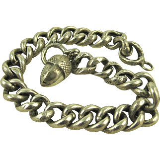 French Antique Art Nouveau Silver Bracelet Acorn Charm ~ c1900