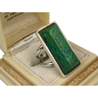 Vintage Mexico Huge Sterling Silver Modernist Green Chrysocolla Ring ~ c1960s