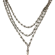 Antique Napoleon 11 French Antique 19th Century Heavy Silver Sautoir Long Guard Chain ~ c1870s
