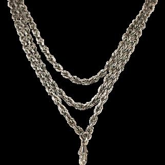 Antique Napoleon 11 French Antique 19th Century Heavy Silver Sautoir Long Guard Chain ~ c1870s