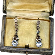 Art Deco Aquamarine 835 Silver Earrings ~ 1930s