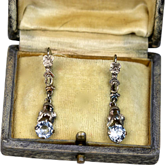 Art Deco Aquamarine 835 Silver Earrings ~ 1930s