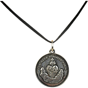 Antique French Sacred Heart Silver Medal Pendant c1890 - 1900