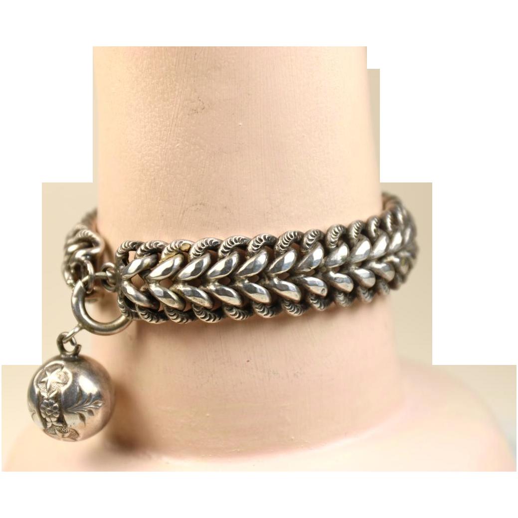 French Antique Art Nouveau Silver Bracelet ~ L' Argent Francais ~ c1900