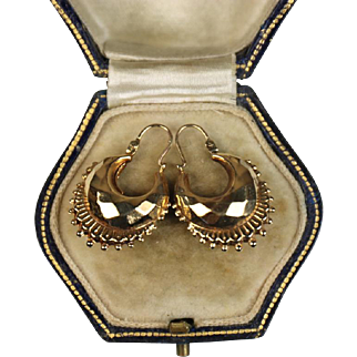 Superb Vintage Italian Gold Creole Earrings ~ c1950