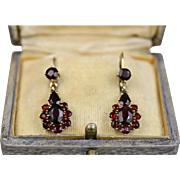 Stunning Art Deco Garnet Gold Earrings ~ c1930s