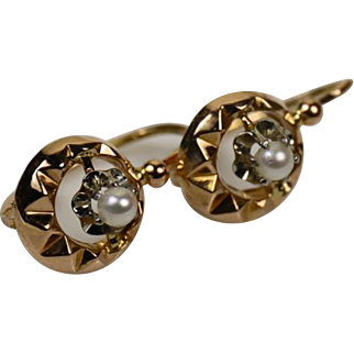 Fine French Vintage Dormeuses Earrings 18 k Gold and Pearl ~ c1930