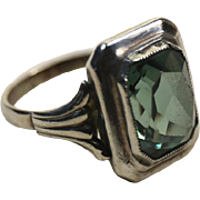 Art Deco German Silver and Spinel Ring ~ 1930s