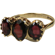 Superb English 9k Gold Three Garnet Ring ~ 1948