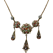 Fine Antique Millefiori Micro-Mosaic Italian Necklace ~ c1890 - c1900