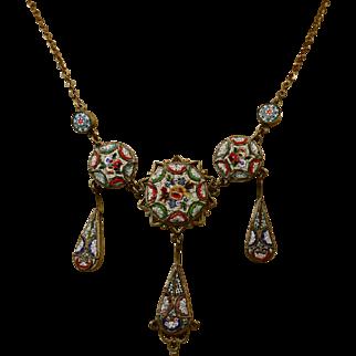 Fine Antique Millefiori Micro-Mosaic Italian Necklace ~ c1890 - c1900