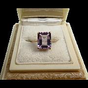 Fine Vintage Emerald Cut Amethyst Gilded Silver Ring