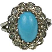 Superb French Silver Vintage Ring Turquoise and Rock Crystal ~ c1950