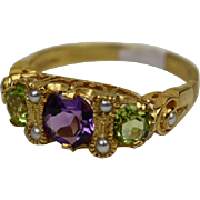Edwardian Style Suffragette Colour Amethyst Peridot Pearl Vintage Ring