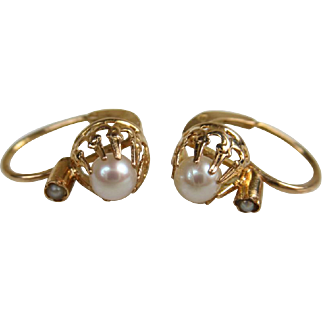 Art Deco French 18k Gold and Pearl Petite Dormeuses Earrings ~ c1920