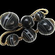 Superb Antique Victorian Scottish Banded Agate 15k Gold Earrings ~ c1860