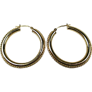 Fine Vintage 14KT Gold Large Hoop Earrings ~ c1970s