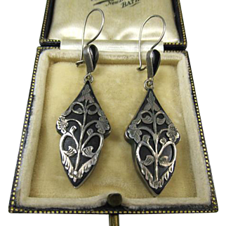 Fine Art Nouveau 800 Silver and Black Earrings ~ c1900
