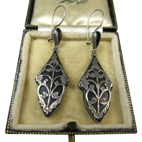 Fine Art Nouveau 800 Silver and Black Earrings ~ c1900