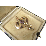 Antique Art Nouveau Amethyst and Pearl Pendant in 9k Gold ~ c1900