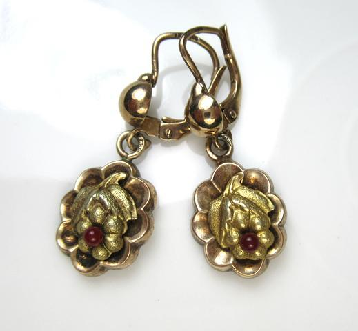 Jugendstil Ornate Gilded Silver Earrings ~ c1920