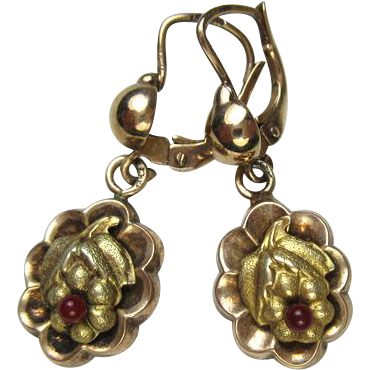 Jugendstil Ornate Gilded Silver Earrings ~ c1920