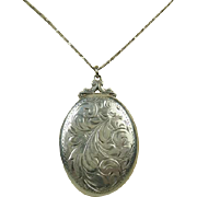 Vintage Hand Engraved Large Sterling Silver Locket ~ c1940