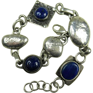 Fine Sterling Silver Arts and Crafts Design Lapis Lazuli Bracelet