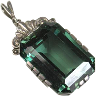 Fine Art Deco German Green Spinel Silver Pendant ~ 1940s