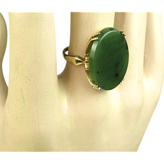 Fine Estate Spinach Jade Gold Ring ~ c1950