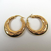 Superb Gold Creole Large Estate Earrings ~ c1930