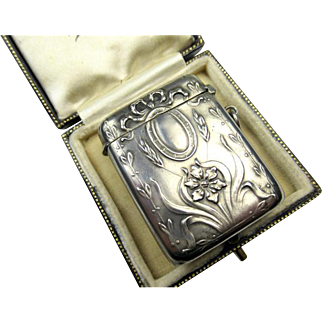 Antique Art Nouveau Silver Pendant Match Safe Vesta ~ 1900