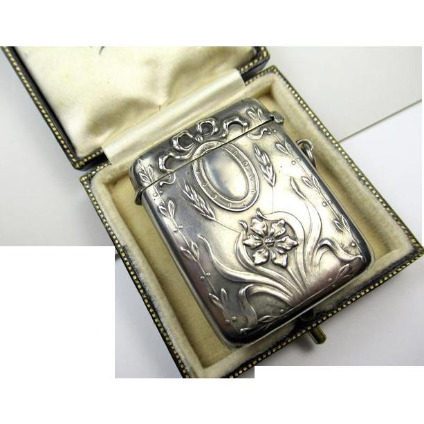 Antique Art Nouveau Silver Pendant Match Safe Vesta ~ 1900