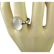 Fine Vintage Moonstone Ruby Silver Ring