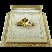 Superb Bjorn Weckstrom Lapponia 18k Gold Platinum Diamond Vintage Ring Finland