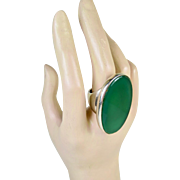 Iconic Modernist Sterling and Chrysoprase Vintage Ring Joaquim S'Paliu Spain ~ 1970s