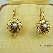 Antique French Napoleon III Dormeuses Earrings 18 k Rose Gold & Pearl ~ c1850