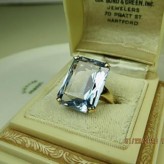 Very Fine Vintage 14K Gold Large Sky Blue Topaz Ring ~ Stunning