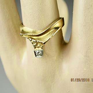 Superb Bjorn Weckstrom Lapponia 18k Gold Diamond and 950 Platinum Vintage Ring Finland