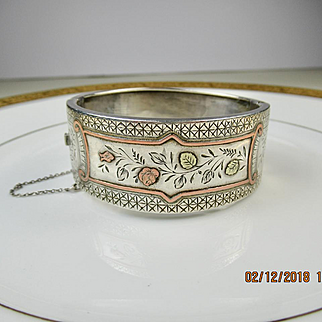 Superb Antique Victorian Aesthetic Silver and Gold Cuff Bracelet ~ c1880
