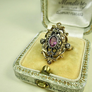 Antique Silver Vermeil Navette Ring ~ Diamond and Paste