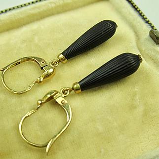 Antique French Napoléon III Dormeuses Earrings 18k Gold, Jet   ~ c1860