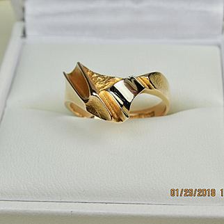 Superb Bjorn Weckstrom Lapponia 14k Gold and 950 Platinum Vintage Ring Finland