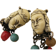 Selro Unsigned Rare Asian Princess Face Earrings