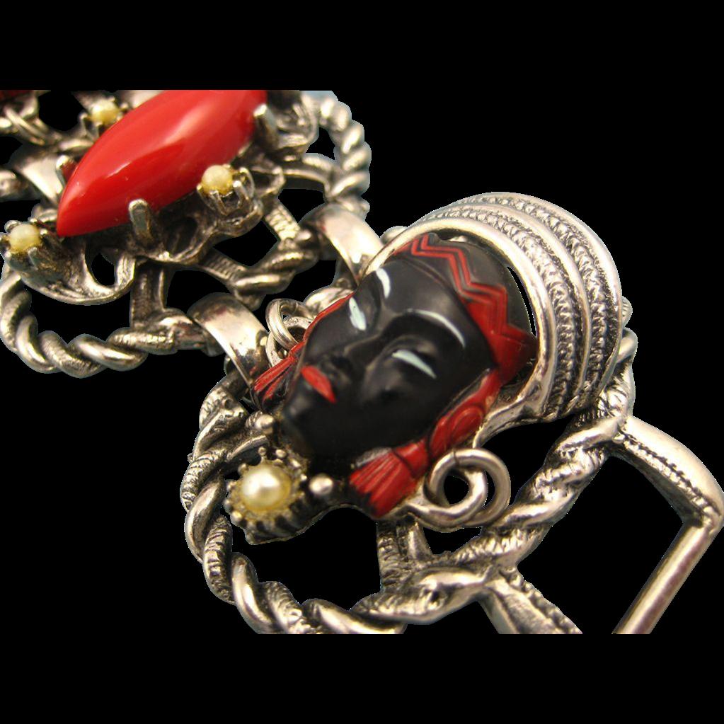 Vintage Selro 1950's Blackamoor Bracelet - Super Condition