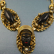 Vintage Selro Blackamoor Necklace - Unsigned